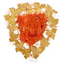 Buccellati Vintage Bacchus Roman God Natural Coral Akoya Pearl 18K Brooch Pendant