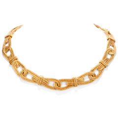 Buccellati Vintage Woven 18k textured link Choker collar Gold necklace