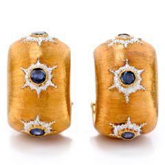 Buccellati Vintage Wide Hoop Sapphire 18K Gold Omega Clip Hoop Earrings