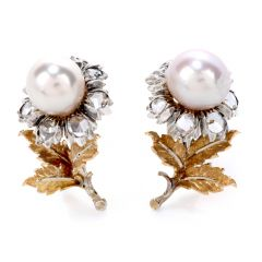 Buccellati Vintage Rose Cut Diamond Pearl 18K Gold & Silver Flower Earrings