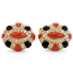 Italian 18K Coral Onyx Diamond Men Turban Cufflinks Singed ANDREOLI