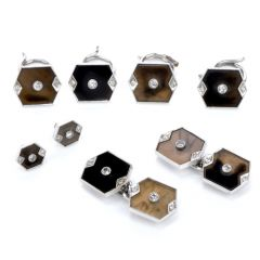 Vintage Diamond Onyx Brown Quartz Tuxedo Cufflink Button Set
