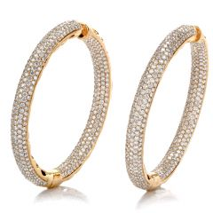 New 14.47 Carat Diamond Round Cut Pave Set Large 14K Rose Gold Inside Out Hoop Earrings
