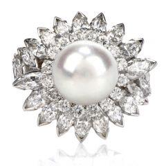 Vintage White Akoya Pearl Marquis & Round Cut Diamond Halo Platinum Cocktail Ring