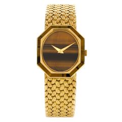 Vintage 1970's Piaget Tiger's Eye 18K Yellow Gold Octagon 9342 Women's Watch
