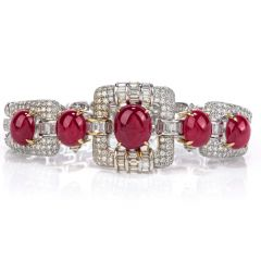 GIA Ruby Diamond 18K Gold Oval Cabochon Bracelet