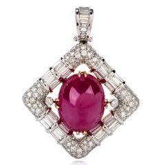 GIA Ruby Diamond 18K Gold Oval Cabochon Pendant