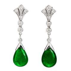 Estate Diamond Emerald 18K Gold Cabochon Drop Dangle Earrings