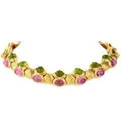 Estate Diamond Peridot & Tourmaline 18K Gold Collar Necklace