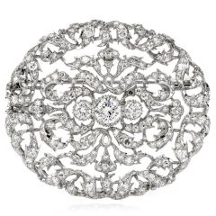 Vintage Buccellati Diamond Platinum Filigree Pin Brooch