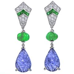 Estate 19.1ct Diamond Emerald Tanzanite 18K Gold Carved Drop Dangle Earrings