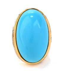 Vintage GIA Persian Turquoise & Diamond 18K Gold Oval Cocktail Ring