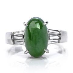 Elegant GIA 4.23ct Cabochon  Jade & Baguette Cut Diamond Platinum Ring