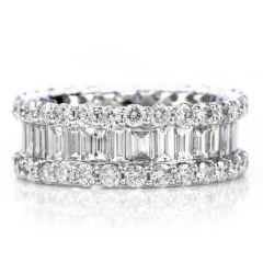 Estate 4.91 carats Diamond Baguette Wide Eternity Band Ring