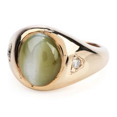 Vintage Chrysoberyl Cats Eye Gold Gypsy Men Ring