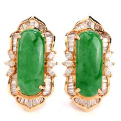 Vintage Retro Diamond Green Jade 18K Gold Clip On Earrings