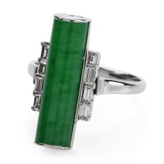 Estate Deco Design GIA Jade Diamond Platinum Bar Cocktail Ring