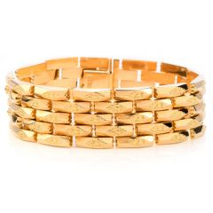 Vintage Retro Panther Design Wide 18K Yellow Gold Bracelet