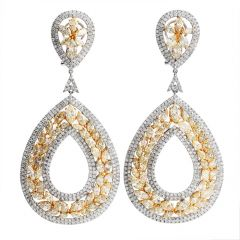 Estate Yellow Fancy Diamond 18K Gold Floral Large Drop Earrings
