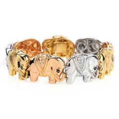 Estate Diamond Sapphire Elephant 18K Tri- color Gold  Link Bracelet