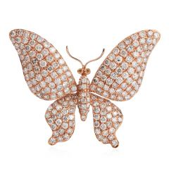 Estate 4.58 carats Diamond Butterfly 18K pink  Gold Brooch Pin