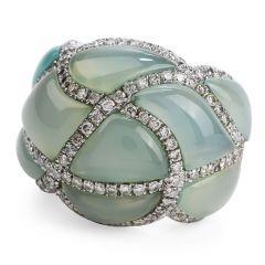 Estate Aquamarine Diamond 18K Gold Dome Ring