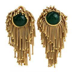 Vintage 18k Gold Tassel Green Onyx Clipon Earrings