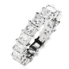 Estate Princess Diamond 4.70 carats Platinum Eternity Band Ring