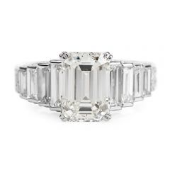 2.83ct Baguette Diamond Platinum 18K Gold Engagement Ring
