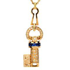 Estate Diamond Sapphire 18K Gold Key Pendant