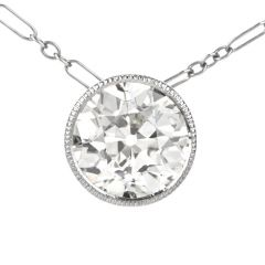 Diamond Platinum Old European Milgrain Filigree Pendant Necklace