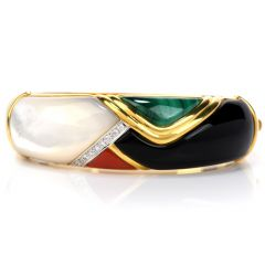 Estate Diamond Multi Stone  18K Gold Bangle Bracelet