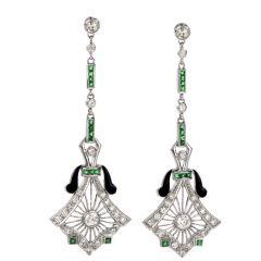 Diamond Emerald & Black Enamel 14K Gold Dangle Drop Earrings