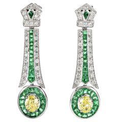 Fancy Yellow Diamond & Emerald 18K Gold Oval Drop Dangle Earrings