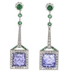 Diamond Tanzanite & Emerald 18K Gold Square Halo Drop Earrings