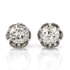 intage 1.40cts European Diamond Platinum Gold Stud Earrings