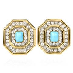Estate Diamond Turquoise 18K Gold Octagon Halo Clip-On Earrings