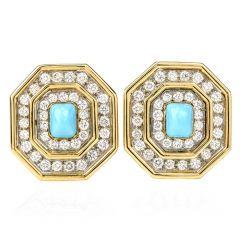 Estate Diamond Turquoise 18K Gold Octagon Halo Clip-On Earrings