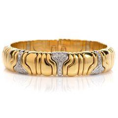 Estate Diamond 18K Gold Italian Cuff Bangle Bracelet