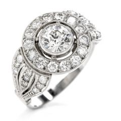 Estate Diamond Platinum Round Cut Halo Three Row Engagement Ring