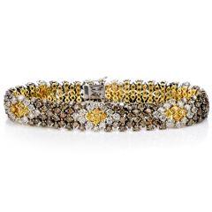 Estate Yellow Champagne White Diamond 18K Snake Bracelet