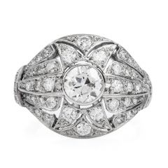 Vinatge Diamond Platinum Filigree Engagement Ring