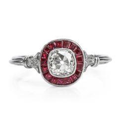 Vintage Deco Old Cushion Diamond Ruby Platinum Engagement Ring