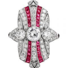 Vintage Art Deco Diamond Ruby Platinum Shield Cocktail Ring