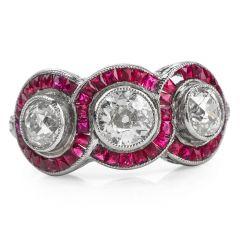 Antique Three Stone Diamond French-cut Ruby Platinum Ring