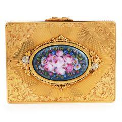 Vintage 1940's Floral limoges  Diamond 18K Gold Box