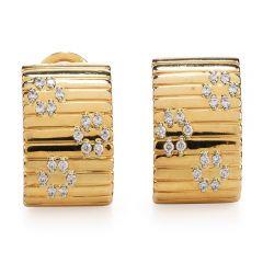 Roberto Coin High polish 18K diamond Clip On Earrings