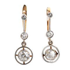Antique Old European Cut Diamond 18K Gold Dangle Earrings