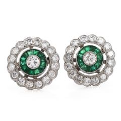 Vintage Deco Diamond Emerald Platinum Flower Stud Earrings