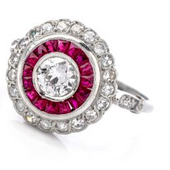 Antique Style Diamond Ruby Platinum  Cocktail Engagement Ring